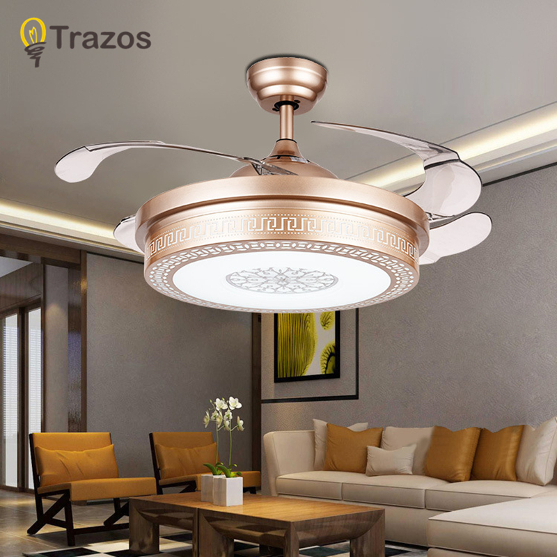 TRAZOS 42 Inch Modern Ceiling Fan Hollow out Room Ceiling Fans With Lights Rose Gold fan lamp Bedroom ceiling light Fan Lamp