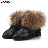 JXANG Top Fashion Women S Natural Fox Fur UG Snow Boots 100 Genuine Cow Leather Winter
