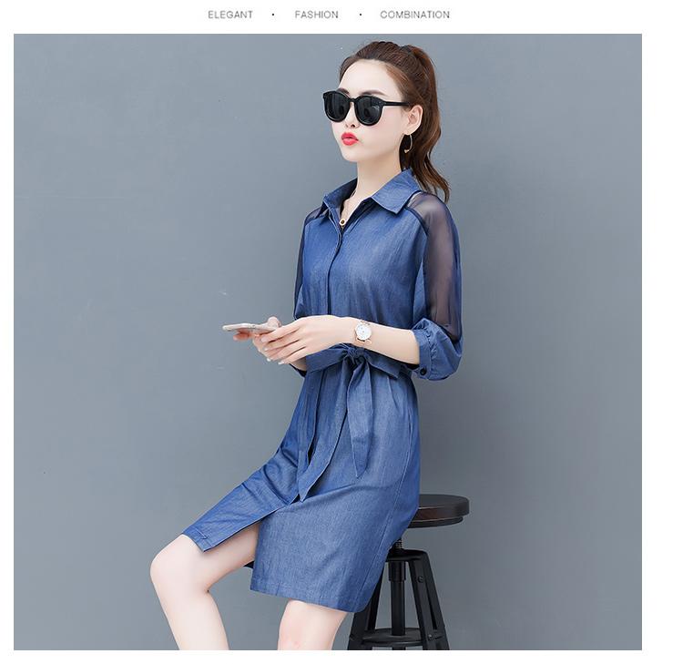Dress female spring and autumn 2019 new fashion commuter slim strapless denim dress tide vestido Q280 12