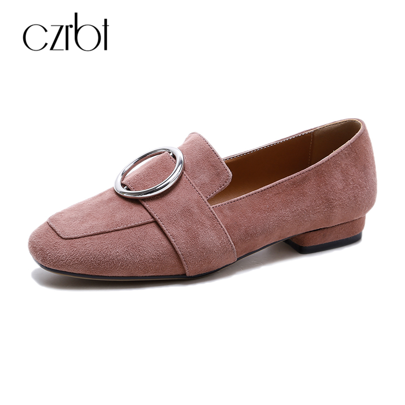 цены на CZRBT Women Loafers Winter Autumn Genuine Leather Shallow Mouth Flat Shoes Woman Fashion Circle Buckle Solid Color Casual Flats в интернет-магазинах