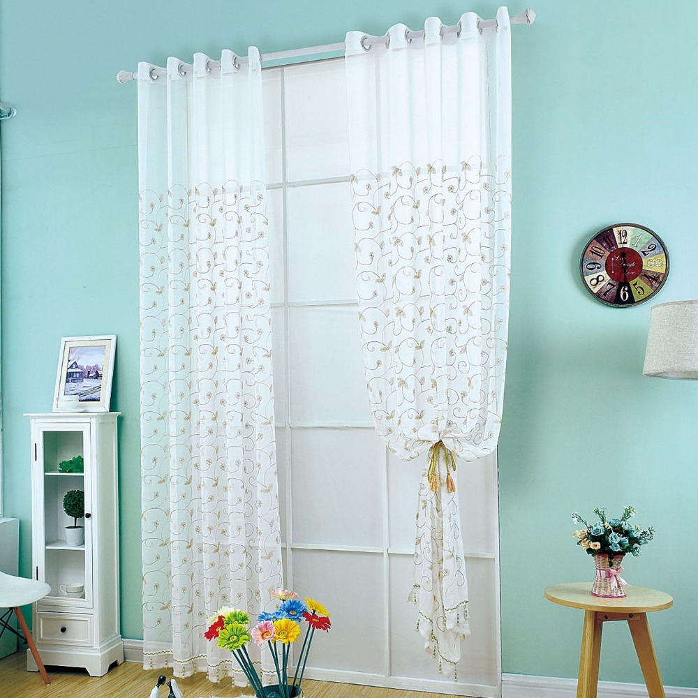 3d embroidery curtain off white coffee leaves voile - Off white curtains for living room ...