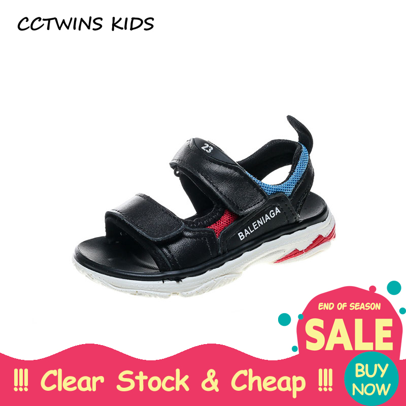 CCTWINS KIDS 2018 Summer Baby Boy Brand Black Beach Sandal Children Genuine Leather Flat Toddler Fashion Soft Shoe BB105 cctwins kids 2018 girl fashion gladiator sandal children pu leather flat shoe toddler brand barefoot sandal baby bg006