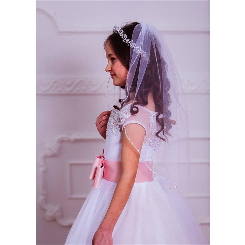 Wedding Flower Girls First Communion Veils With Comb Short White Ivoey Beaded Edge Children Kids Veils Voile Fille Velo De Novia