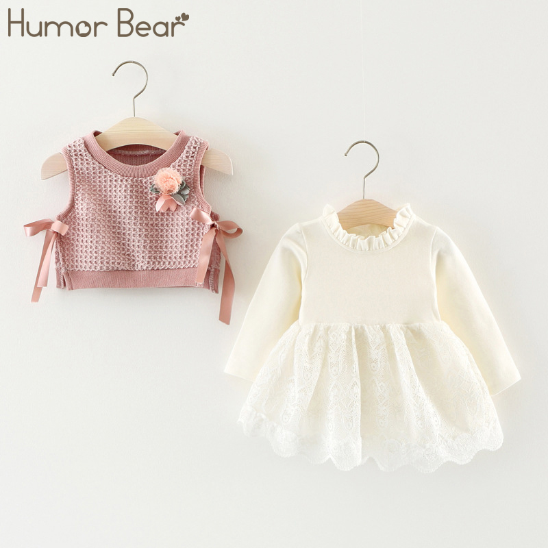 Humor Bear Children Clothing Girl Dress Spring Autumn Cotton Bow Long Sleeve Party Fake Two Dress Cute Infant Baby Girls Clothes