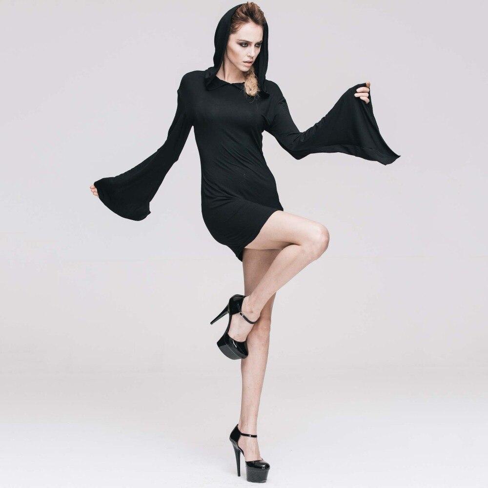 Gothique Sexy noir Flare manches à capuche robe Rock Punk nuit Club fête robes courtes rétro Vintage Streetwear femmes vêtements 2019 - 2