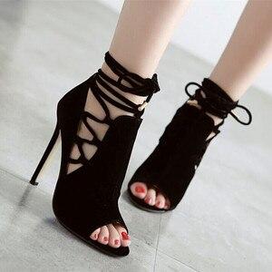 Image 1 - Mazefeng/2018 летние популярные классические женские туфли лодочки в римском стиле; Женская обувь на высоком каблуке; Женская обувь высокого качества с открытым носком