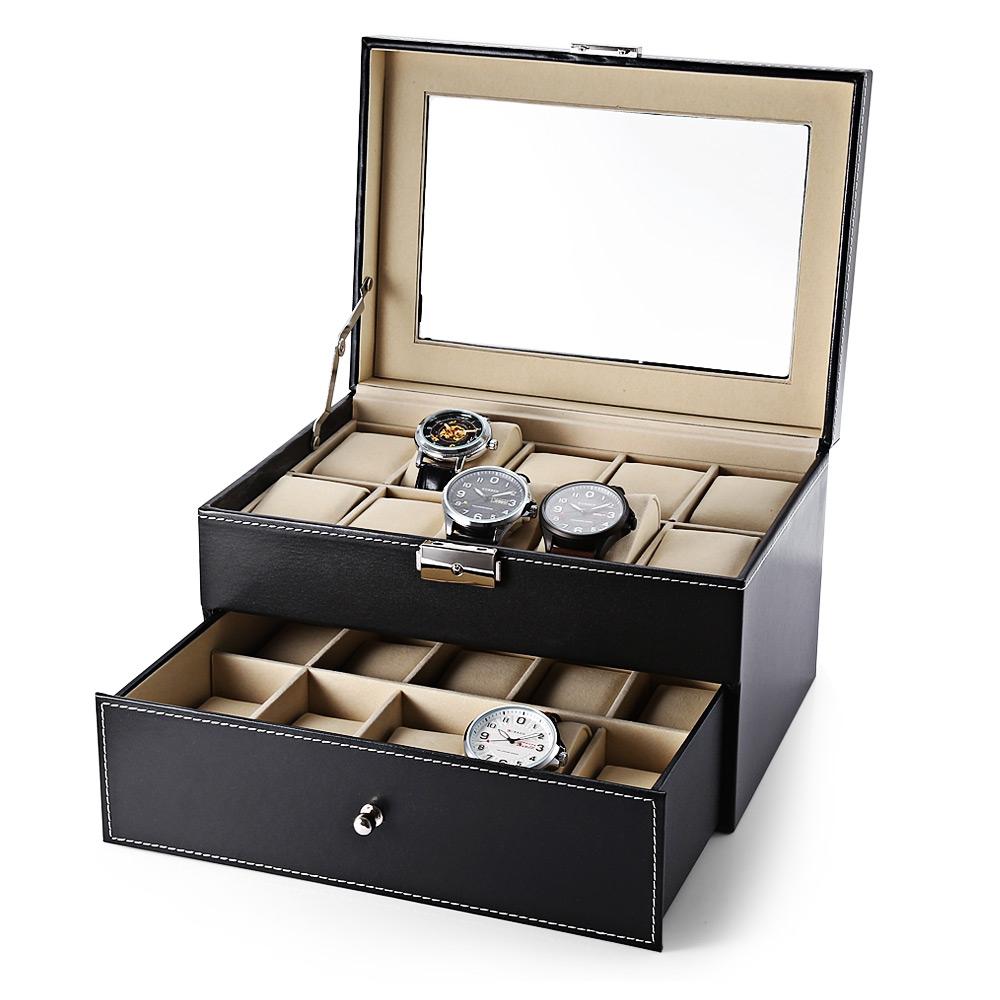 Prix pour De luxe 20 Grille de Montre En Cuir Boîte à Bijoux Affichage Collection Cas Tiroir-style PU Montre Organisateur De Stockage Box Holder reloj caixa