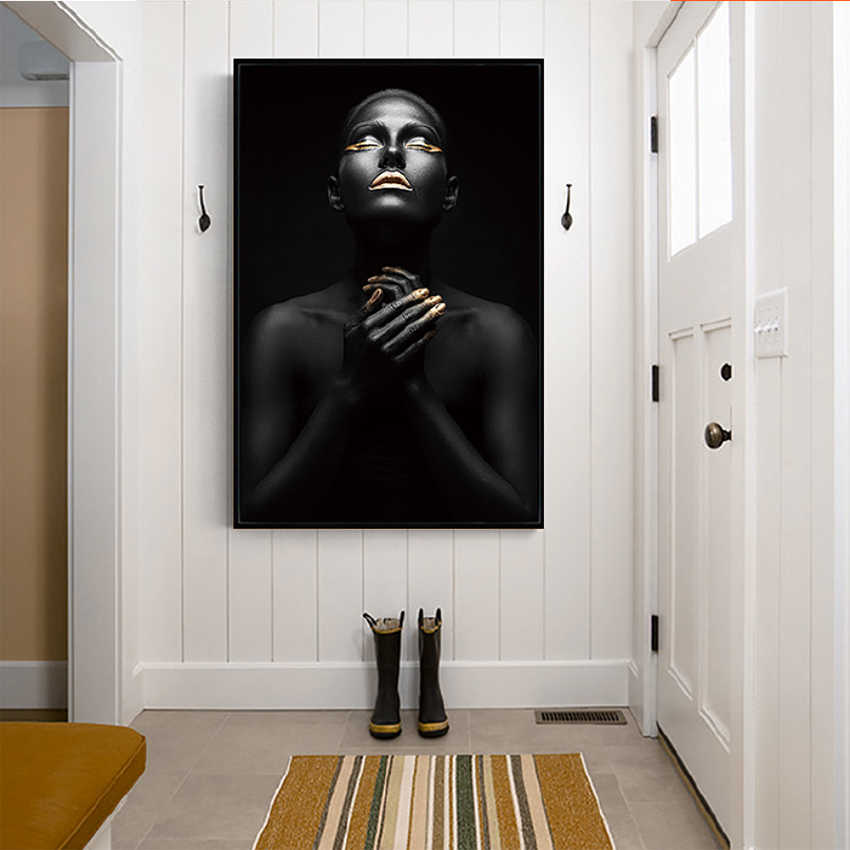 MUTU Abstract Gold Black African Woman Oil Painting On Canvas Posters And Prints Scandinavian Wall Art Picture For Living Room