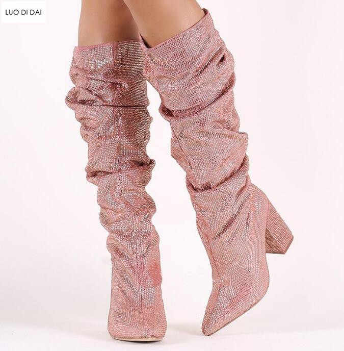 bfd2cb5164 2019 New lady point toe ankle boots diamond stud boots women rhinestone  booties slip on chunky heel booties glitter party shoes
