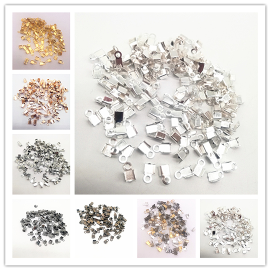 200Pcs 4x8/2x6mm Small Cord End Tip Fold Over Clasp Crimp Bead Connector DIY Jewelry Making
