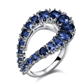 Cocktail Ring with Blue stones Setting with Cubic Zirconia Platinum Plated Lady ring Lead Free  Free Shipping