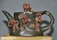 wedding decoration 4Old China Yixing ZiSha Pottery Zodiac animal monkey leaf Teapot tea set