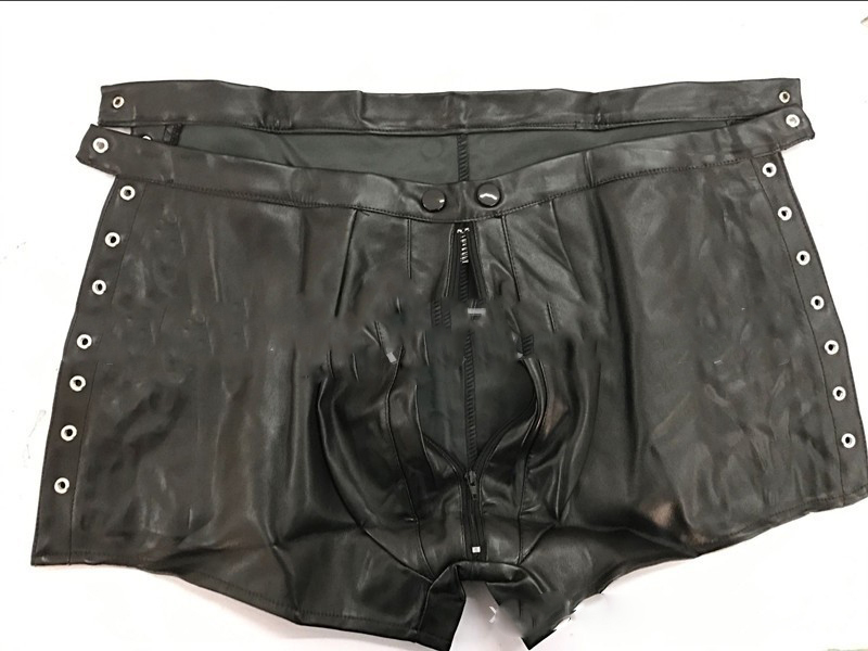Sexy Men Wild PU Faux Leather Zipper Open Crotch Short Boxer Bandage Clubwear Jockstrap Fetish Gay Wear Erotic lingerie FX1030