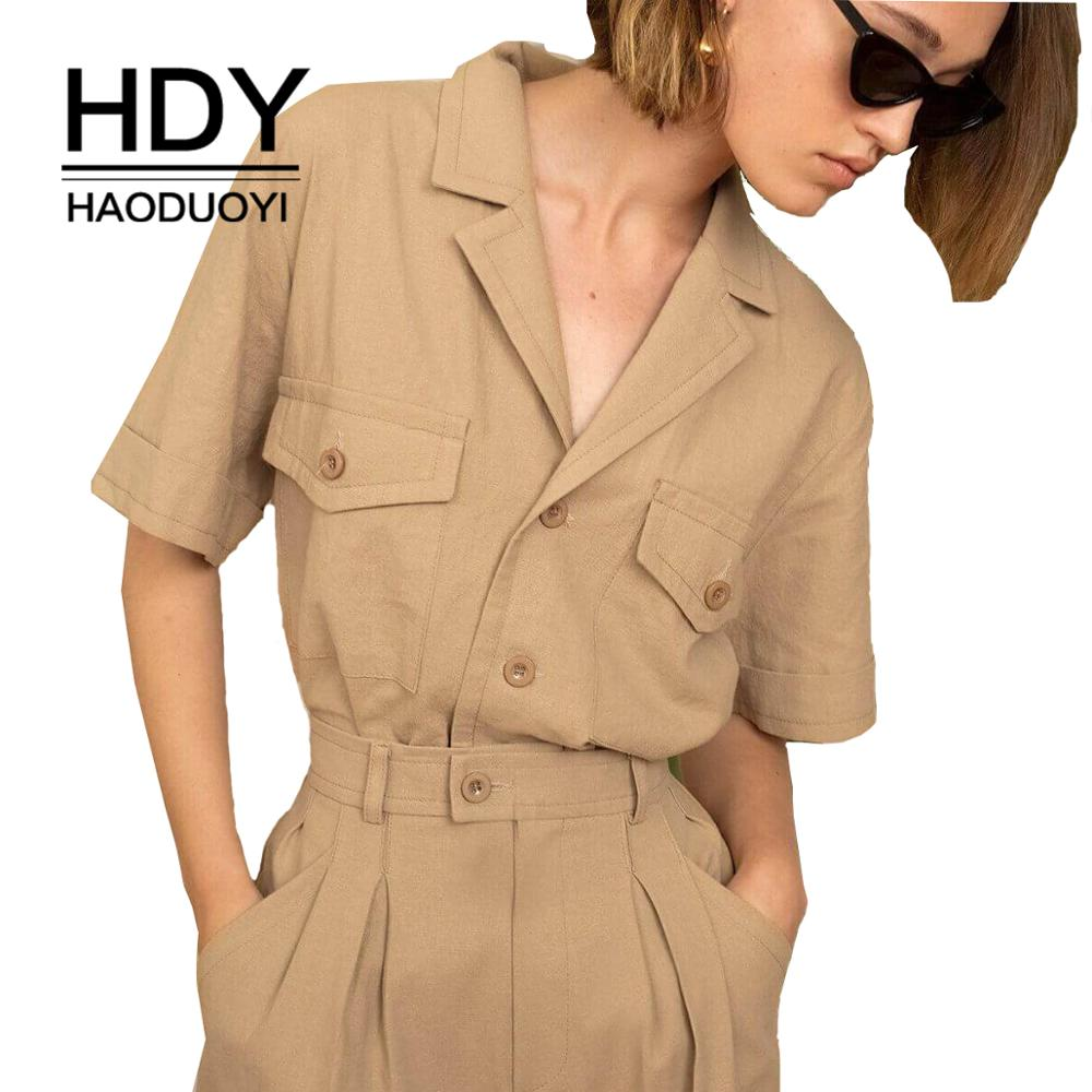 HDY Haoduoyi Solid Color Handsome Shirts Collar Multi-pocket Decorative Femme Neutral Tops Fashion Women Outwears(China)