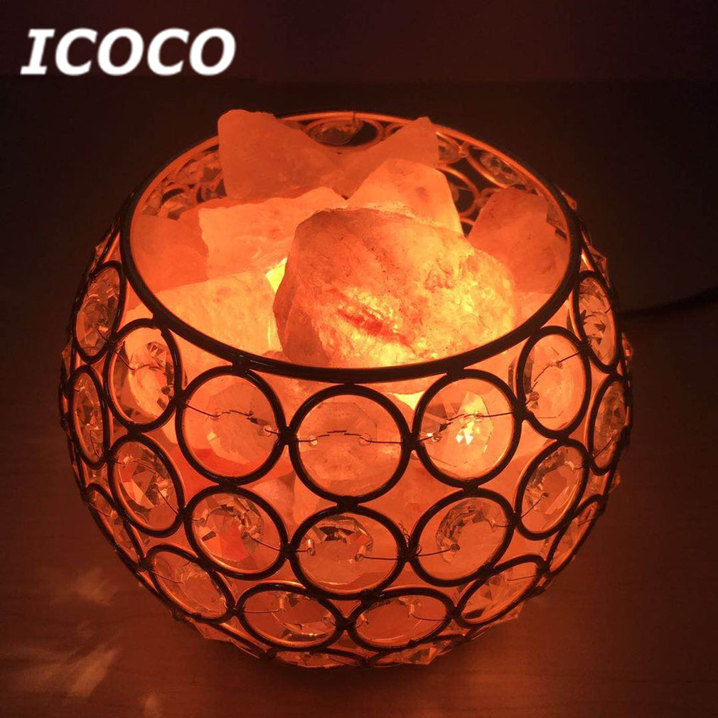 ICOCO Round Shape Healthy Life Himalayan Natural Crystal Salt Light Air Purifying Himalayan Salt Lamp Night Light Drop Shipping