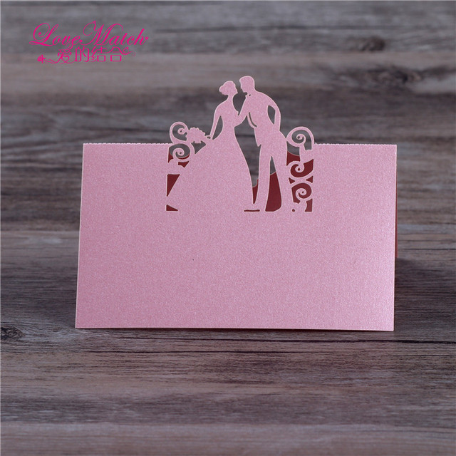 US $4 43 |Love Match 40pcs Laser Cut Table Name Place Card Wedding  Decoration Party Favors Pearl Paper Table Place Card Wedding Supplies-in  Cards &