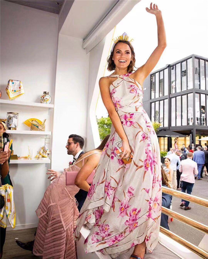 Longue Femmes Parti Fleur Printemps 2019 Nu Dos Robe Sexy Nouveau Halter Imprimer PWnORAY