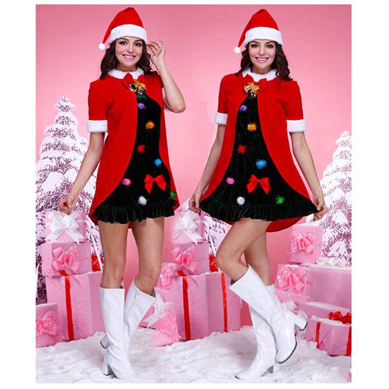 2018 Christmas Christmas Night Burst Christmas Red dress Black stage costumes Live party clothes Christmas hat