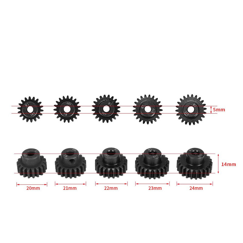 Brand New 5pcs M1 5mm 18T 19T 20T 21T 22T Pinion Engine Gear For Rc Car 1 8 Brushed Brushless Motor