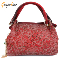 Guapabien Women Bag Floral Print Ombre Shoulder Bags Ladies OL Party Wedding PU Leather Tote Bag Red Gray Hollow Out Handbag