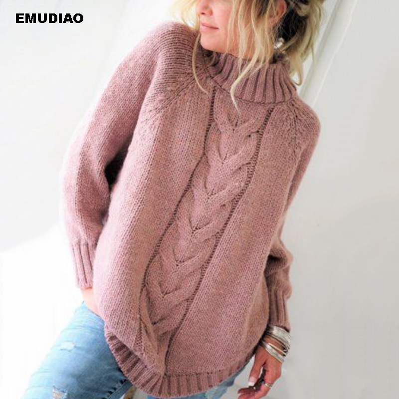 Turtleneck Sweater Women Loose Knitted Pullover Jumper Woman Winter 19 Autumn Streetwear Plus Size Pink Pull Femme Mujer Unif 7