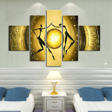 Pure handmade Golden Dance painting home decor modern abstract oil on canvas 5 piece decorative wall pictures no framed