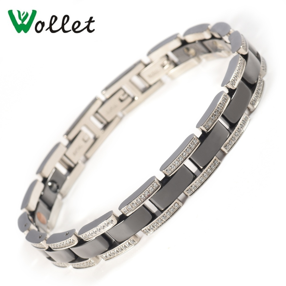 Wollet Jewelry Germanium Ceramic Bio Magnetic Bracelet Black White Color 259 CZ Stone Healing Energy Negative Ion Hematite byriver healthcare black tourmaline stone health bracelet germanium negative ion energy hand chain for men women size 57 64mm