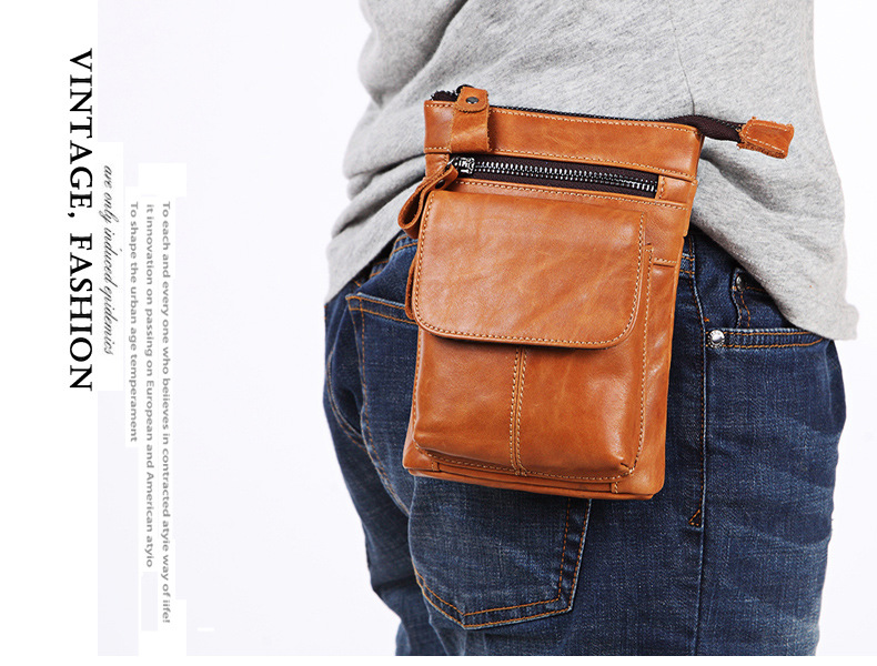 FSSOBOTLUN,For Blackview X/BV7000 Pro/A20/BV5800/S6 Case Men's Belted Waist Wallet Bag Genuine Leather Cover With Shoulder Strap - 3