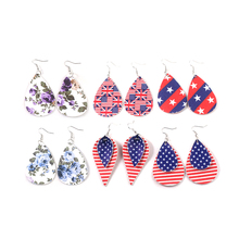 New American Flag Earrings For Women Fashion Jewelry Leather Drop Earrings Girls Cpsplay Party Accessories Gift