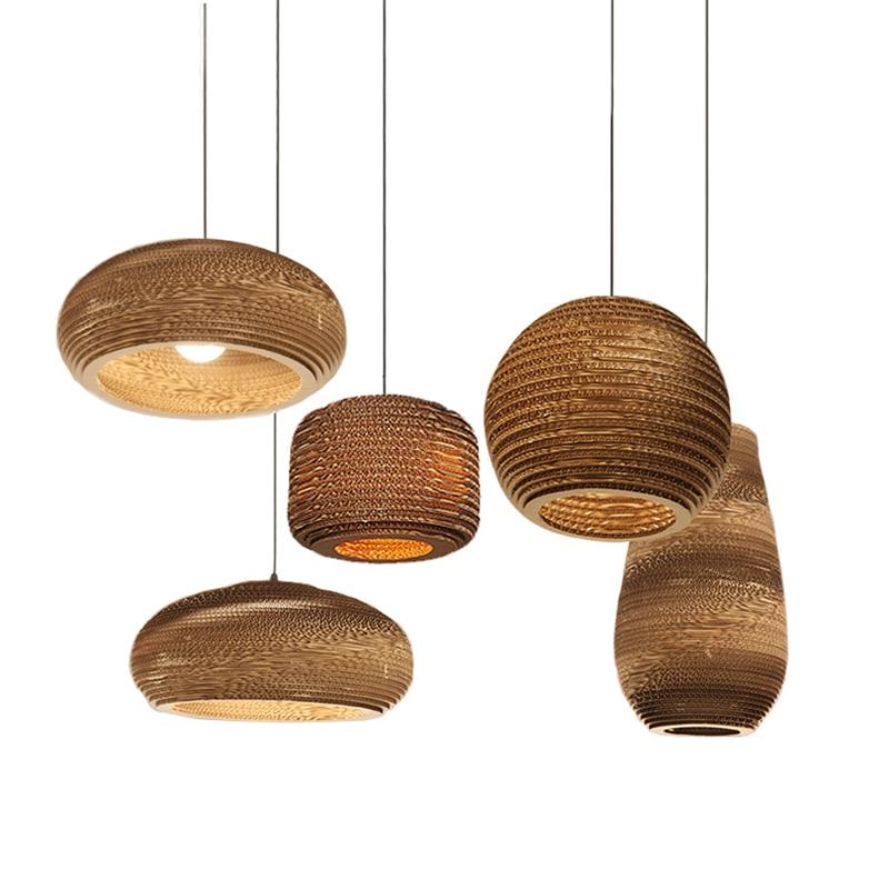Creative Industrial Paper Pendant Lights E27 Led Bulb Loft Retro Hanging Fixtures Vintage Decorative Lamp Ceiling