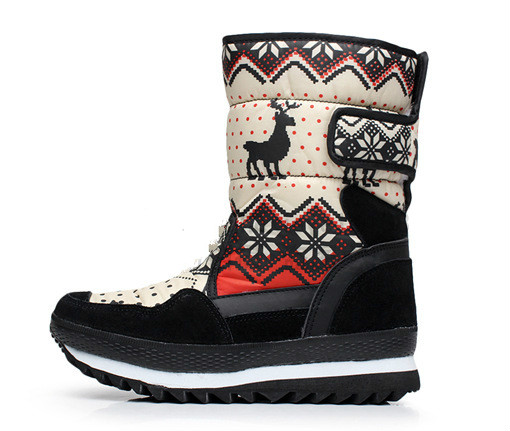 Snow boots womens middle tube winter warm cotton boot waterproof fawn boots waterproof s ...