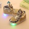Meninas do bebê moda gancho laço led crianças luz brilhante tênis meninas princesa crianças com luz