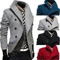 Dos homens casaco de lã de Design Característico de Oblique Single-row Fecho Longo macho casaco 2016 Moda inverno Magro dos homens outwear