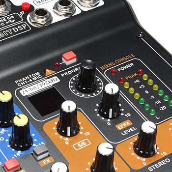 Leory Mini Portable Mixer 8 Channels USB Digital DJ Mixer With PAD Switches DSP Effect  3