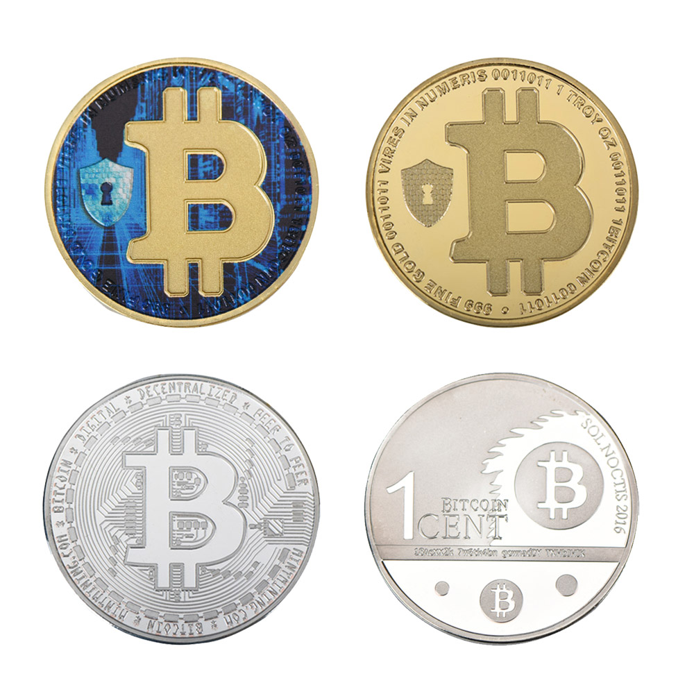 WR 4pcs Bitcoin Coin New Year Gifts Bitcoin Metal Challenge Gold and Silver Metal Coin Home Decor Art Crafts for Collection