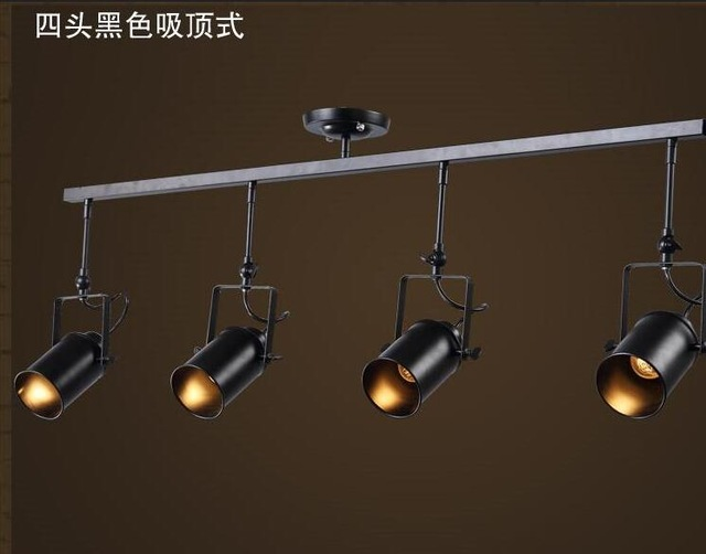 A1 Black stent Modern minimalist Vintage American track light industrial creative lounge bar clothing store personalized lamp led track light50wled exhibition hall cob track light to shoot the light clothing store to shoot the light window