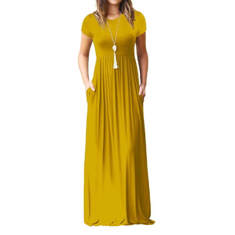 Summer Maxi Long Dress Women Femme Boho Long Dresses Plus Size Casual Pockets New Short Sleeve O-neck Solid Dress S-2XL GV598 2