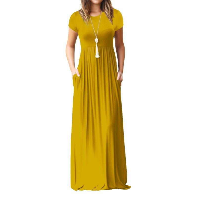 Summer Maxi Long Dress Women Femme Boho Long Dresses Plus Size Casual Pockets New Short Sleeve O-neck Solid Dress S-2XL GV598 2