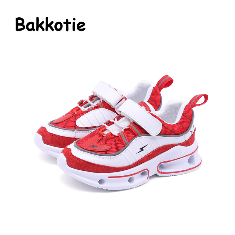 все цены на Bakkotie 2018 Autumn Fashion Baby Girl Mesh Genuine Leather Shoes Children Sport Sneakers Kid Boy Brand Red Casual Shoes Trainer онлайн