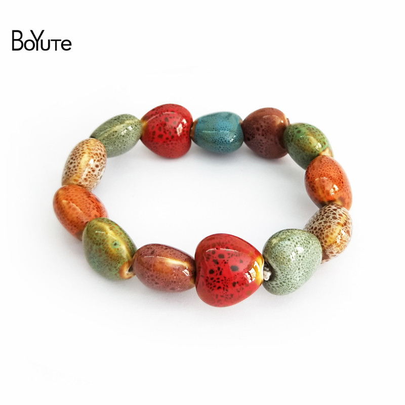 BoYuTe Retail 1 Piece Ethnic Style Hand Made Knitted Glaze Flower Ceramic Bead Bracelet  ...