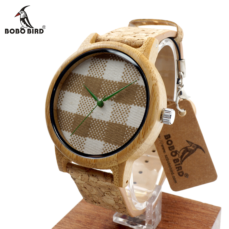 """BOBO BIRD V-A28 Tikrinti Gingham Dial Round Bambuko laikrodžius Vyriški moterų mados kvarco laikrodžiai su """"Soft Band"""" zegarki damskie"""