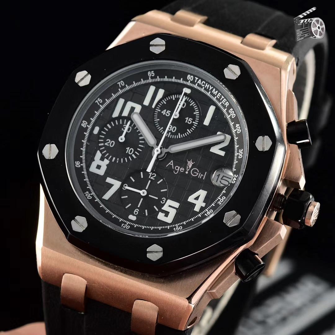 Marque de luxe nouveaux hommes chronographe Rose or noir rouge limité argent caoutchouc acier inoxydable montre lumineux Sport chronomètre AAA +