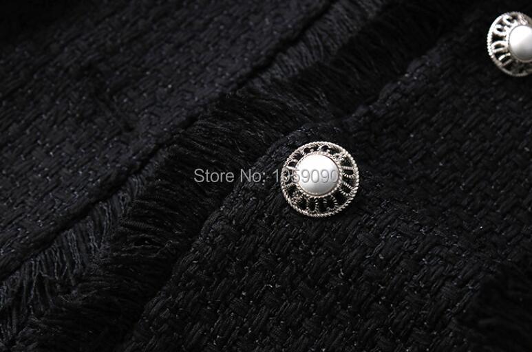 2018 Frangée De Blazer Évasée Bouton Piste Femme Noir Perle Tweeded Vers Revers Version Longue Le À Faux Col Manches Bas Mode AYAxZqr