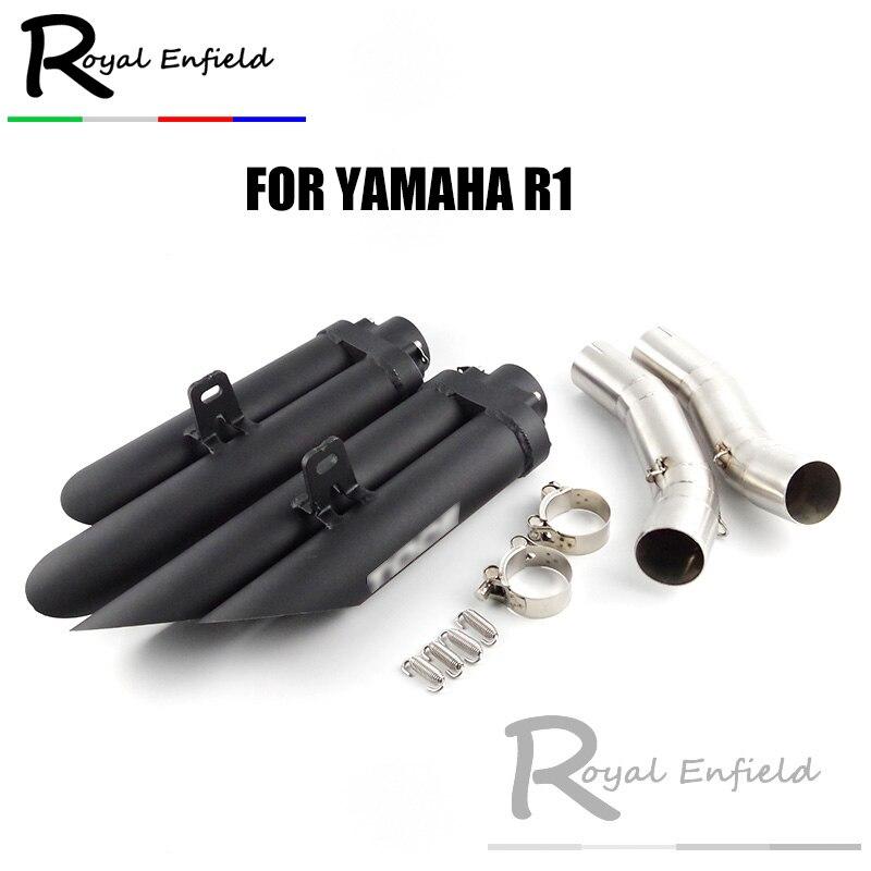 Escorregar Para YZF-R1 2 buracos Chanfradas Frito Rua Silenciador de Escape Da Motocicleta Tubo de Ligação Do Meio Para A Yamaha R1 2004- 2006 07-08 09-14