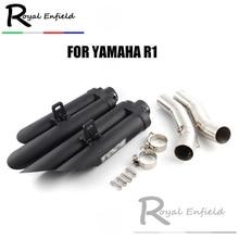 Слипоны для YZF-R1 мотоцикл выхлопной 2 отверстия скошенный жареные улица глушитель среднего звена трубы для Yamaha R1 2004-2006 07-08 09-14
