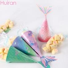Huiran – boîte à bonbons sirène, sacs en papier pour filles, cadeaux pour fête d'anniversaire, pour enfants, sac en papier pour mariage