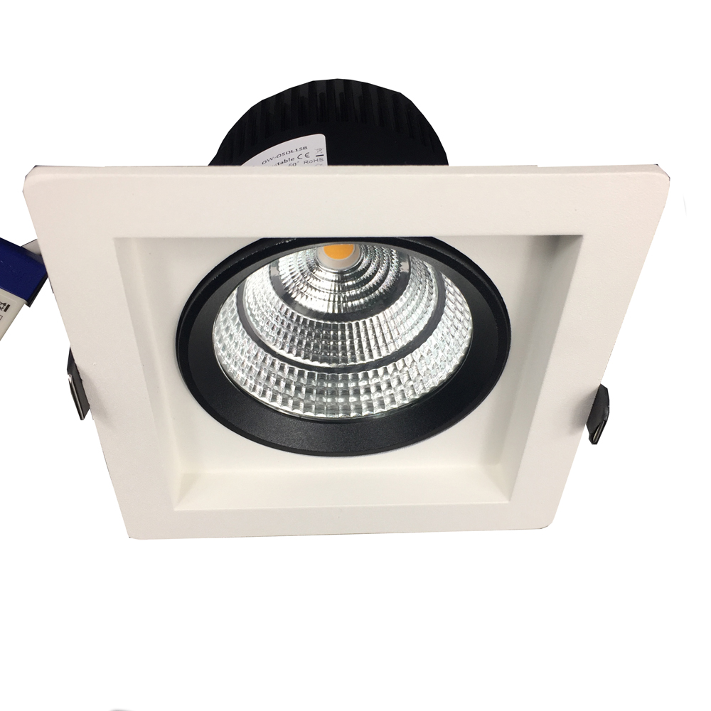 DALI, 0-10V, 1-10V, Triac Dimmable Square Recessed LED Downlight 24 60 Beam Anti Glare High Quality Commercial Light image