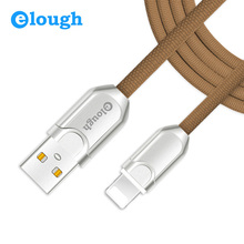 Elough 2.1A Zinc Alloy USB Charger Cable For Apple iPhone 7 7Plus 6s 5s 6 iPad Mini Fast Charge 1m 2m USB Data Wire Cloth Cable