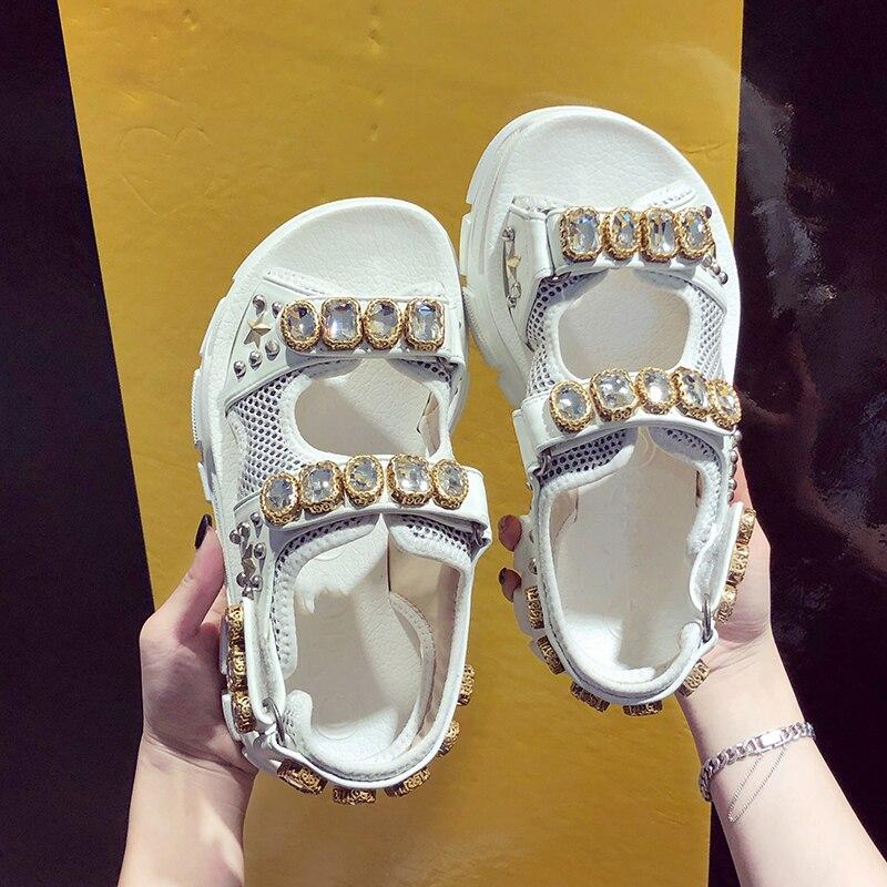 HTB1S.AYOhYaK1RjSZFnq6y80pXap Hollow out open-toed women sandals fashion diamond beads women outdoor wedge shoes Women Waterproof platform Summer shoes 2019