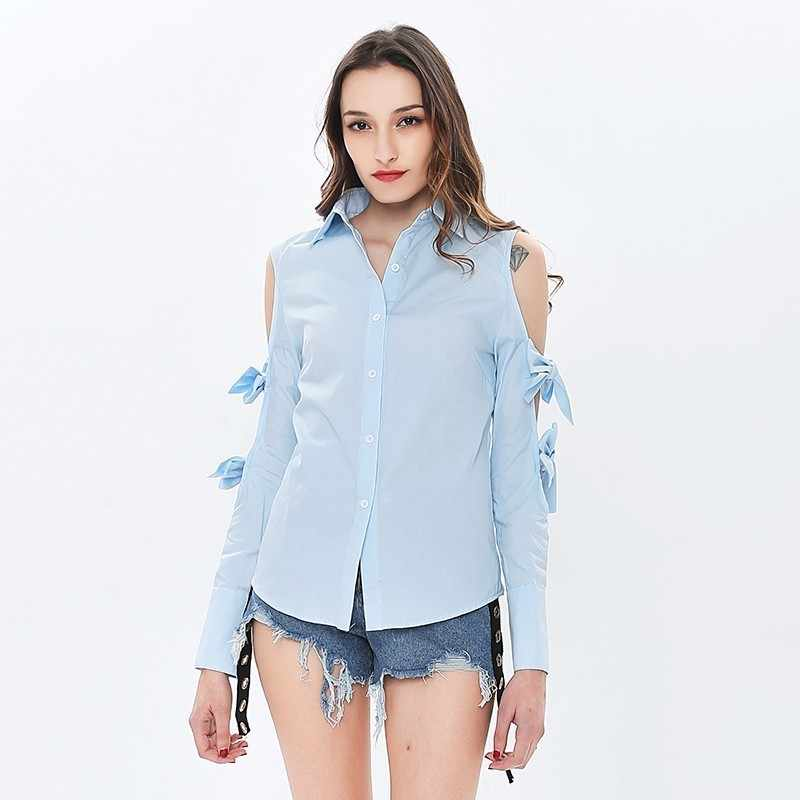 TWOTWINSTYLE, camisa Sexy con hombros descubiertos para mujer, blusa con lazo, manga larga, Top calado para mujer, moda Casual coreana, verano 2020